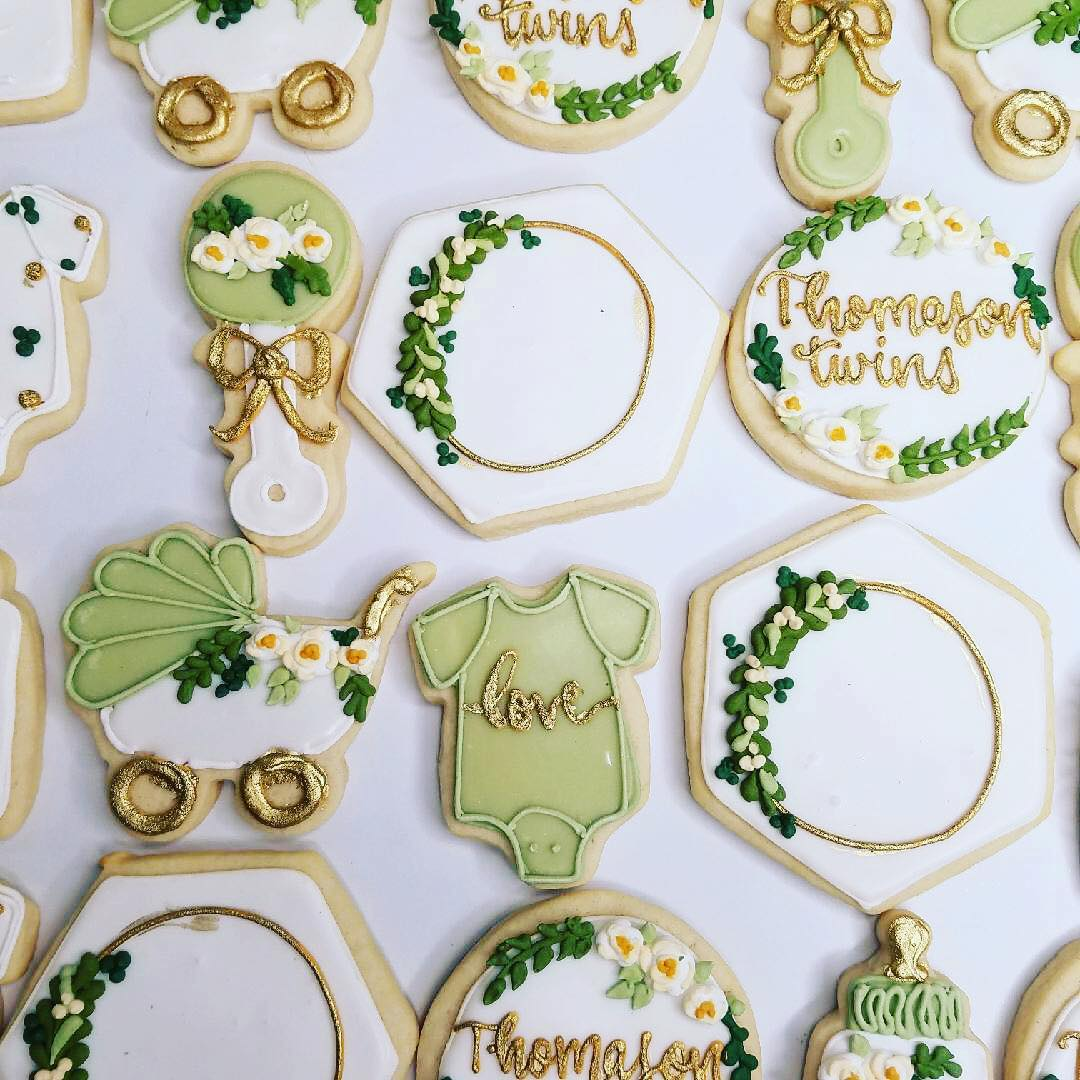 Light Sage Greenery Baby Shower Cookies