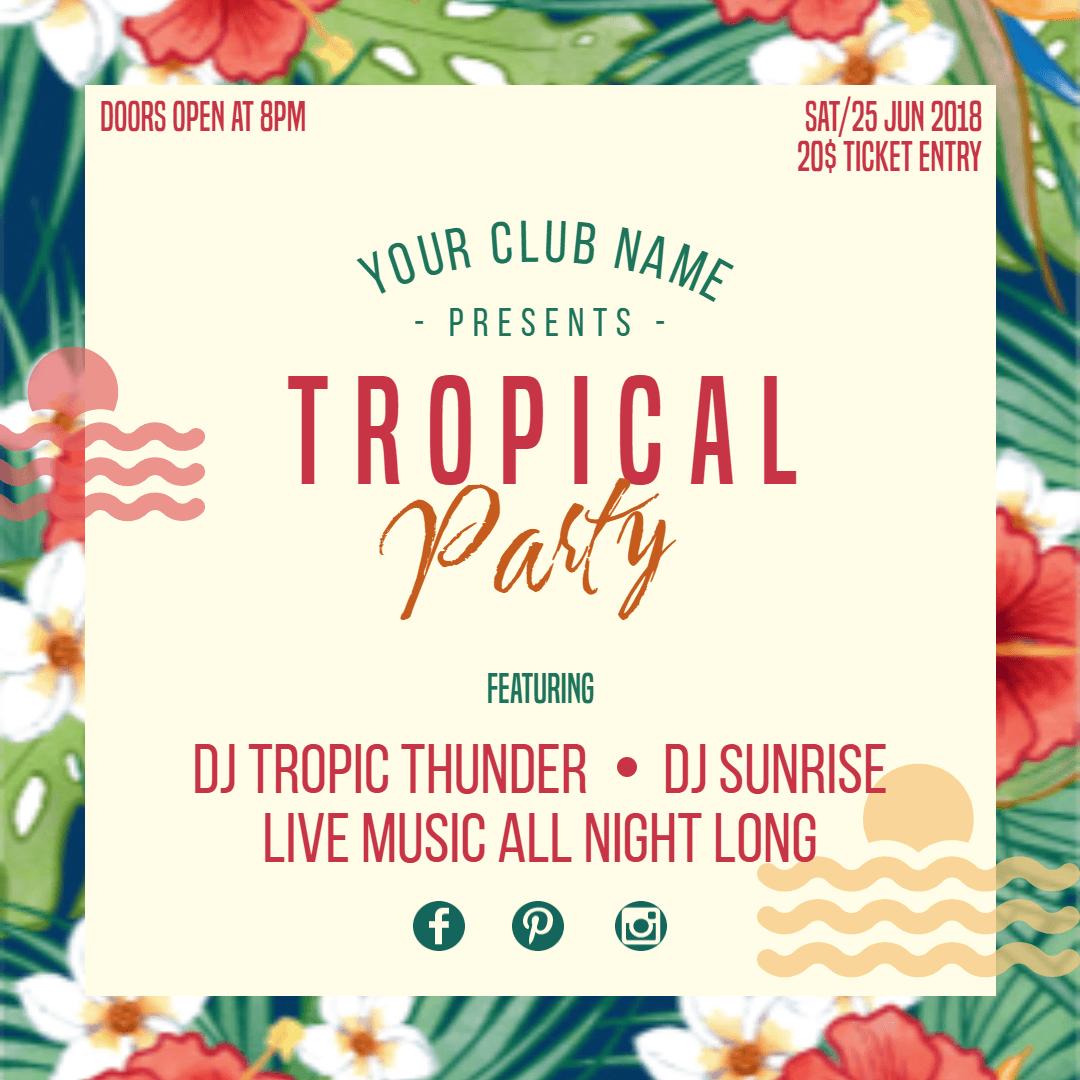 Tropical Party  Invitation  Summer Design