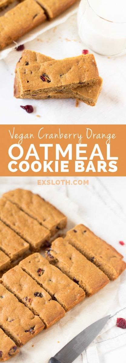 Vegan Cranberry Orange Oatmeal Cookie Sticks