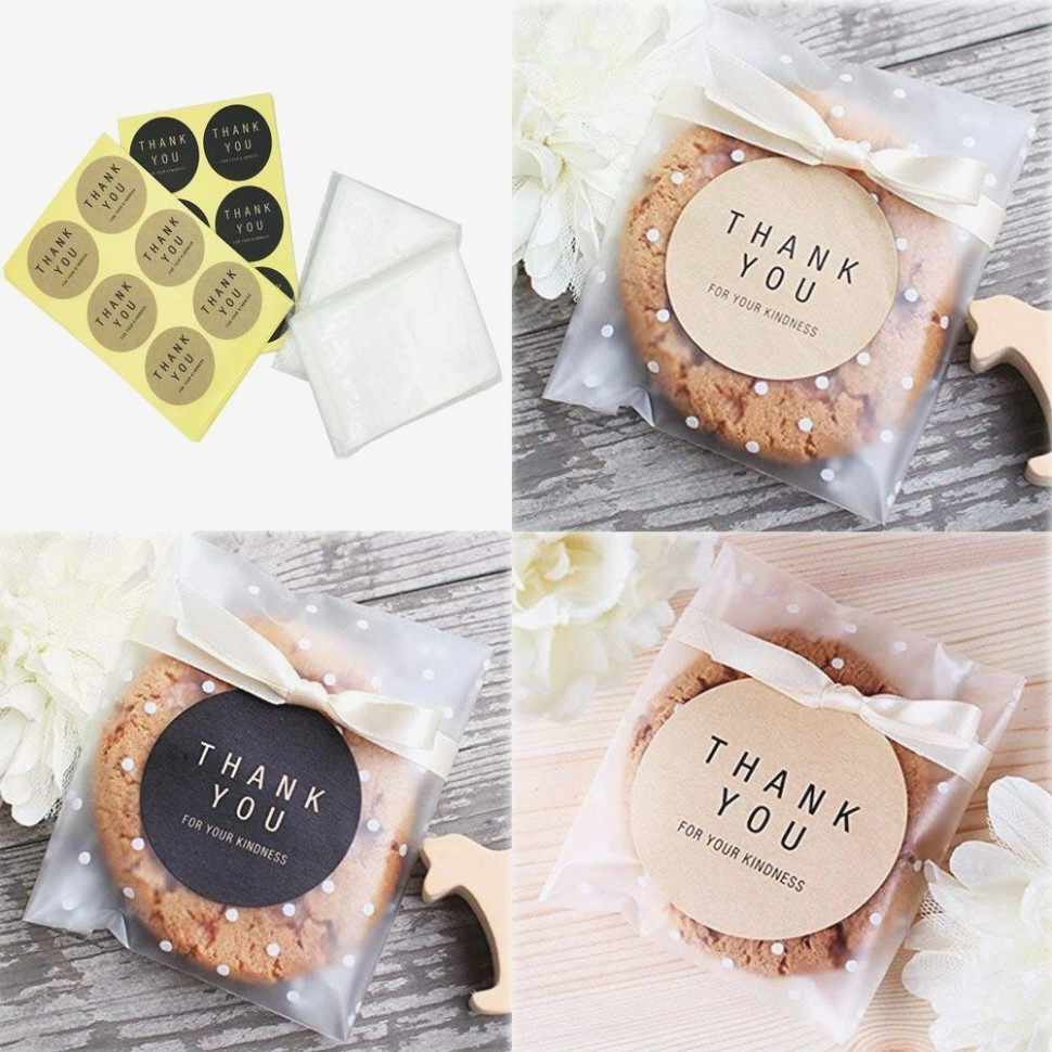 Yunko White Dots Self Adhesive Plastic Cookie Bags For Gift Giving